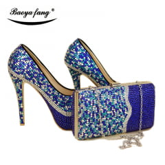 SAPATO FORMAL COM BOLSA AZUL ROYAL CRYSTAL